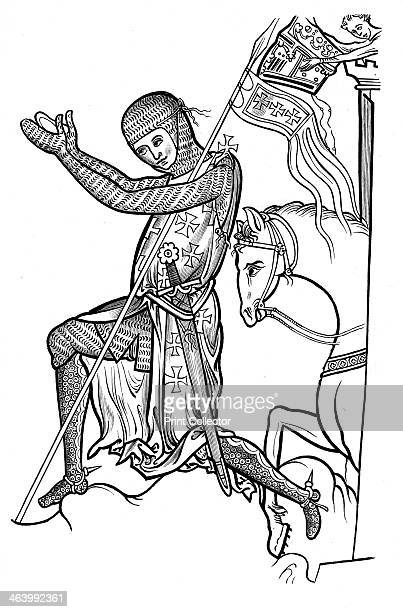 Knight in armour late 13th century An illustration from A Short History of the English People by John Richard Green illustrated edition Volume I...