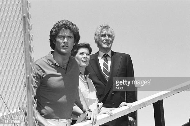 RIDER Knight of the Drones Part 1 Episode 1 Pictured David Hasselhoff as Michael Knight Patricia McPherson as Bonnie Barstow Edward Mulhare as Devon...