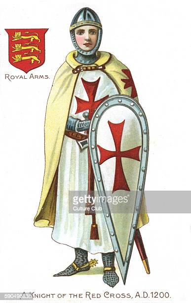Knight of the Red Cross / Knights Templar 1200 Medieval soldier of the crusades wearing a cape gown and shield adorned with the flag of St George