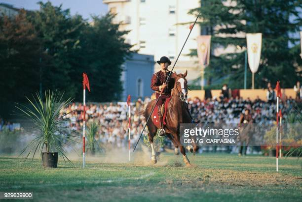 Knight on horseback with a lance Joust of the Quintana Foligno Umbria Italy