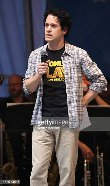 R Knight performs at United presents 'Stars in the Alley' in Shubert Alley on May 27 2015 in New York City