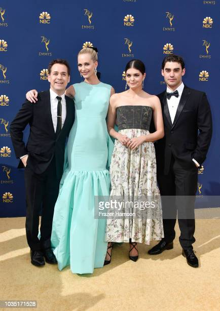 T R Knight Poppy Delevingne Samantha Colley and Alex Rich attend the 70th Emmy Awards at Microsoft Theater on September 17 2018 in Los Angeles...