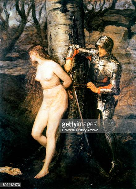 Knight Rescues Nude Woman Tied to Tree The Knight Errant Sir John Everett Millais Painting 1870
