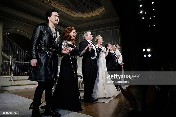 R Knight Stockard Channing Matthew Broderick Katie Finneran Nathan Lane F Murray Abraham and Micah Stock onstage during 'It's Only A Play' on...