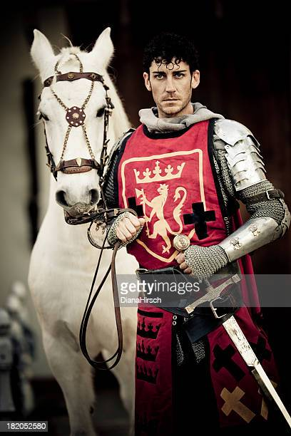knight with white stallion - prins koninklijk persoon stockfoto's en -beelden