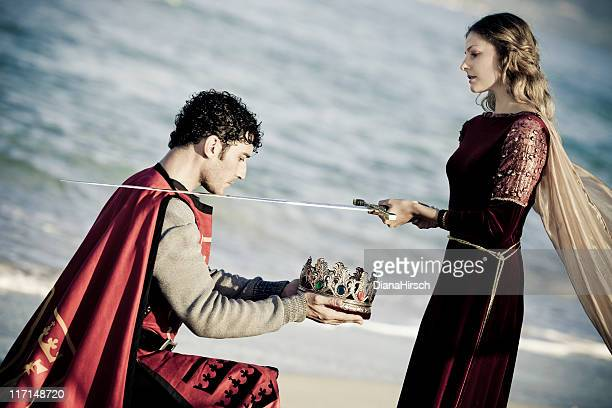 knighting the king - medieval queen crown stock pictures, royalty-free photos & images