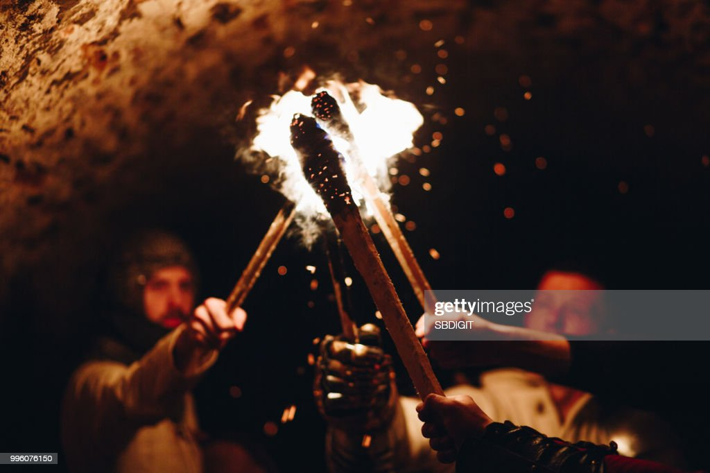 knights and fire : Stock Photo