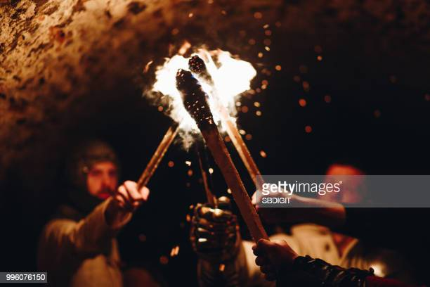 knights and fire - medieval stock pictures, royalty-free photos & images