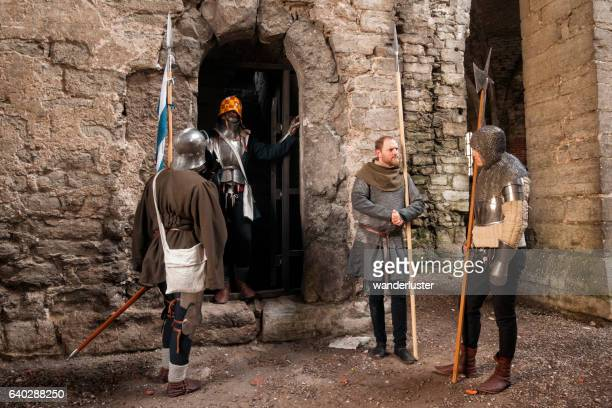 knights at the castle - sword in the stone stock photos and pictures