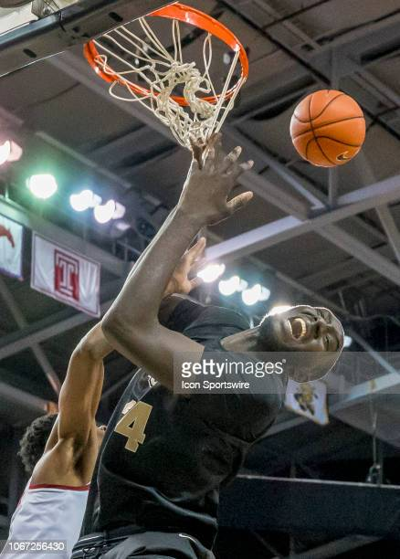Knights center Tacko Fall gets fouled during the basketball game between the UCF Knights and the and Alabama Crimson Tide on November 29 2018 at CFE...