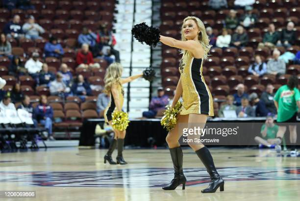 Knights cheerleaders perform during the women's American Athletic Conference Tournament game between UCF Knights and Wichita State Shockers on March...