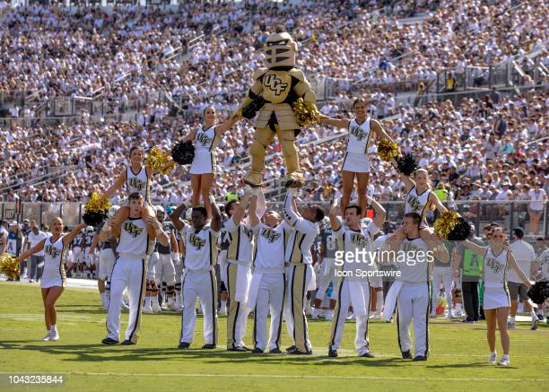 Knights cheerleading during the football game between the UCF Knights and Pitt on September 29 2018 at CFE Arena in Orlando FL