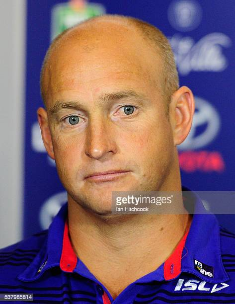 Knights coach Nathan Brown looks on at the post match media conference at the end of during the round 13 NRL match between the North Queensland...