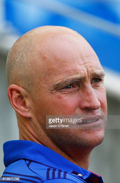Knights coach Nathan Brown looks on prior to kick off during the round one NRL match between the Gold Coast Titans and the Newcastle Knights at Cbus...