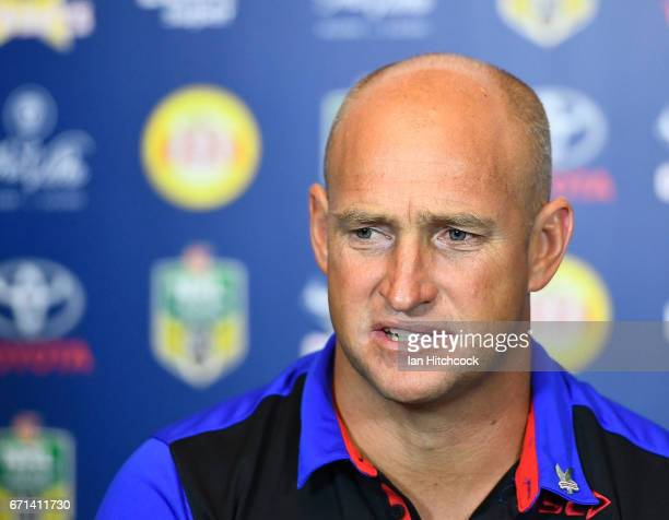 Knights coach Nathan Brown speaks at the post match media conference at the end of during the round eight NRL match between the North Queensland...