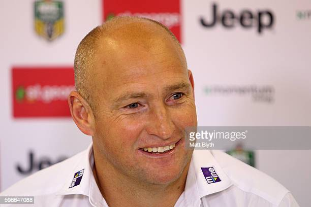 Knights coach Nathan Brown talks during a press conference after the round 26 NRL match between the St George Illawarra Dragons and the Newcastle...