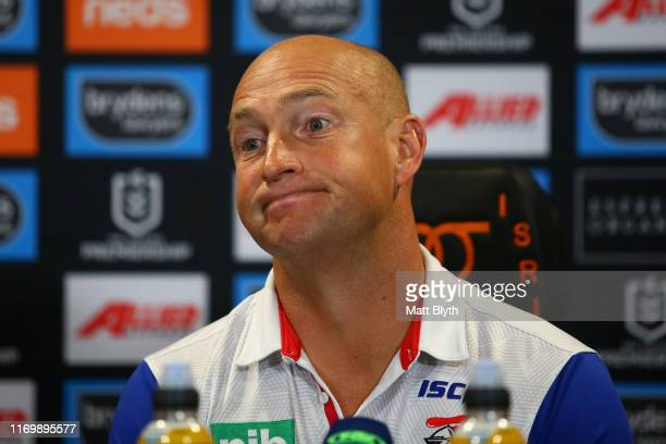 Knights coach Nathan Brown talks to the media after the round 23 NRL match between the Wests Tigers and the Newcastle Knights at Campbelltown Stadium...