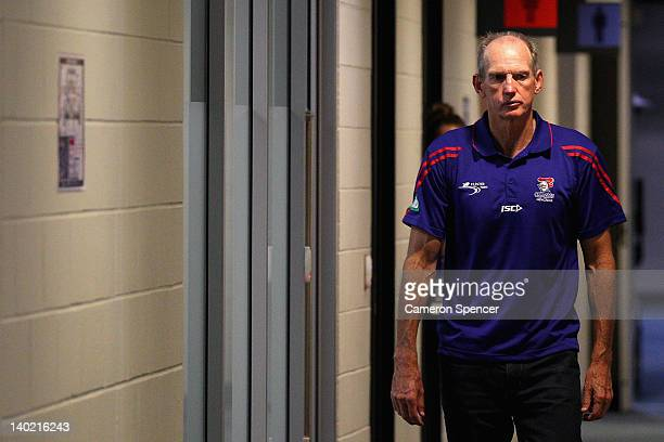 Knights coach Wayne Bennett arrives at a press conference following the round one NRL match between the Newcastle Knights and the St George Illawarra...