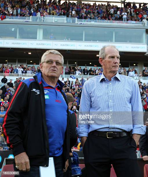 Knights coach Wayne Bennett looks on during the round 26 NRL match between the Newcastle Knights and the Parramatta Eels at Hunter Stadium on...