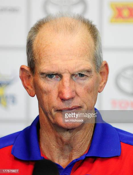 Knights coach Wayne Bennett speaks in the post match media conference at the end of the round 24 NRL match between the North Queensland Cowboys and...