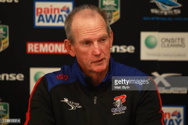 Knights coach Wayne Bennett talks at a press conference after the round 22 NRL match between the Cronulla Sharks and the Newcastle Knights at...