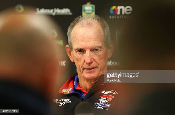 Knights coach Wayne Bennett talks to the media after the round 18 NRL match between the Cronulla Sharks and the Newcastle Knights at Remondis Stadium...