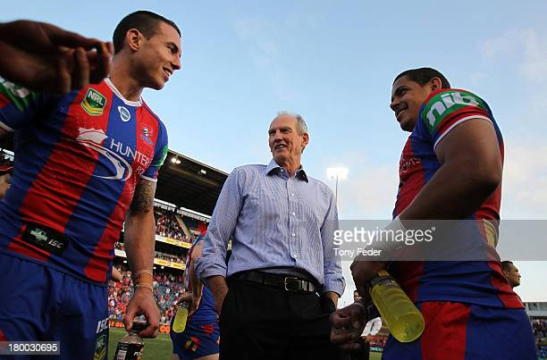 Knights coach Wayne Bennett with Darius Boyd and Dane Gagai during the round 26 NRL match between the Newcastle Knights and the Parramatta Eels at...