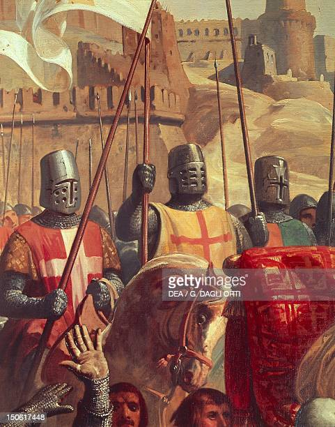 Knights Crusaders, detail from The battle of Ascalon between Godfrey of Bouillon and Al Afdal's Egyptians,painting by Charles-Philippe Lariviere ,...