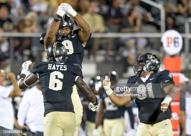 Knights defensive lineman Trysten Hill celebrates his fumble recovery during the football game between the UCF and SMU on October 6 2018 at Bright...