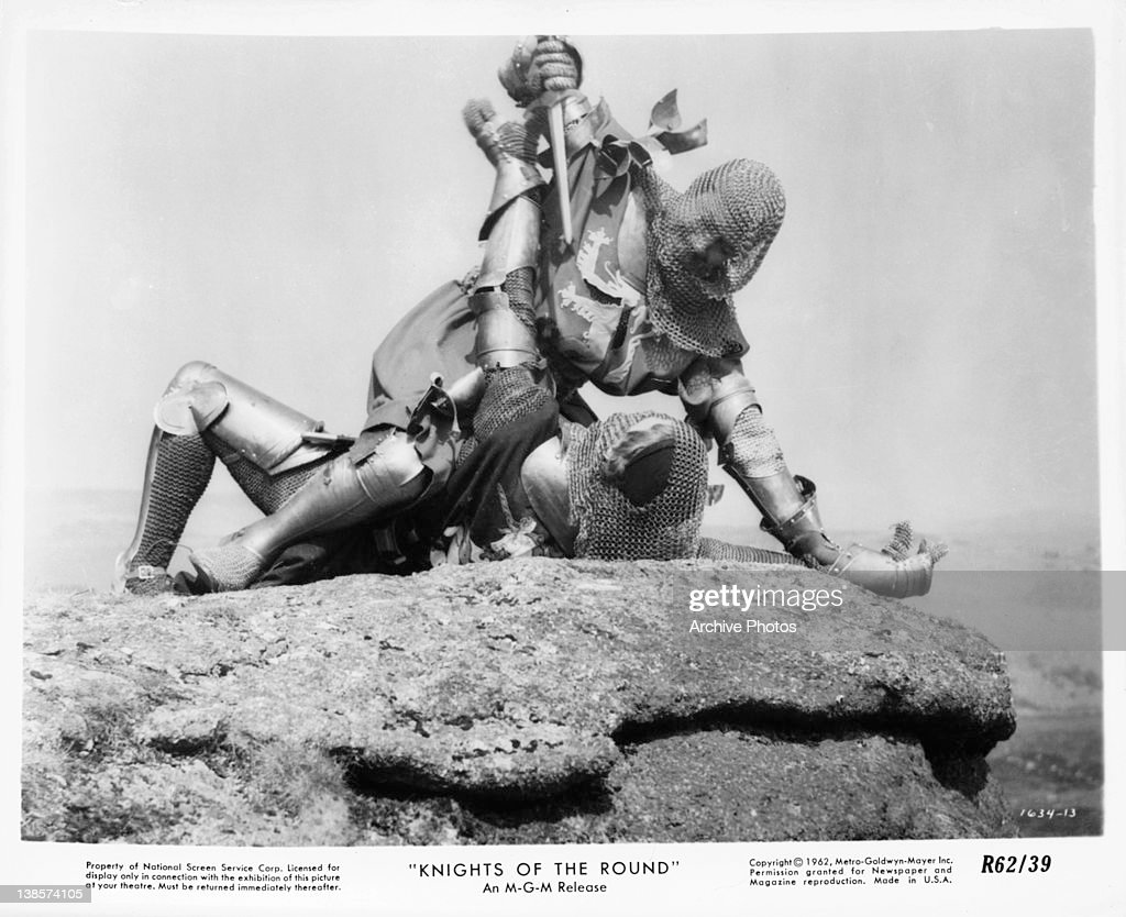 Knights Fighting In A Scene From The Film Of Round Table 1953