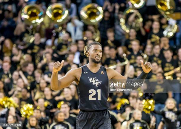Knights forward Chad Brown celebrates the UCF Knights win over Alabama Crimson Tide at the end of the basketball game between the UCF Knights and the...
