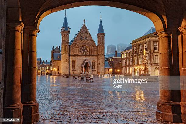 knights' hall at binnenhof in the hague - hague stock photos and pictures