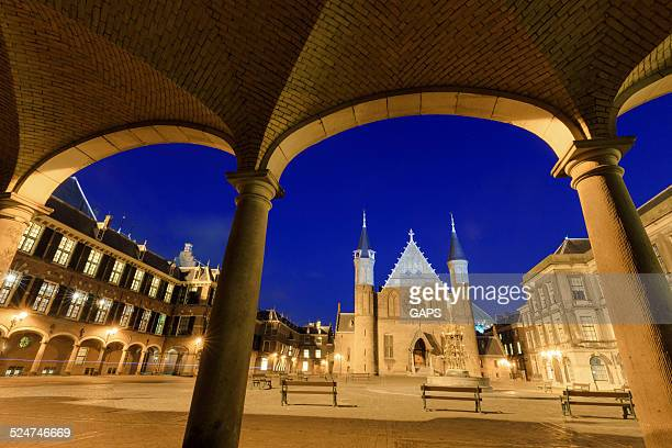 knights' hall at binnenhof in the hague - binnenhof stock photos and pictures