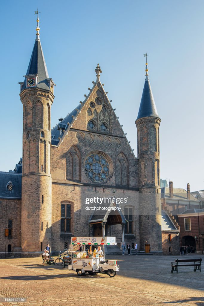 Knight's Hall at the Binnenhof and Ijsverkoper in The Hague, the Netherlands : Stock Photo