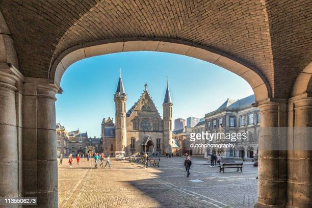 knight's hall at the binnenhof in the hague, the netherlands - binnenhof stock photos and pictures