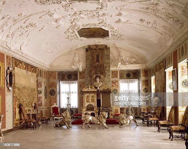 Knight's hall dating back to 1750, Danish royal throne room, Rosenborg Castle, Copenhagen, Denmark.
