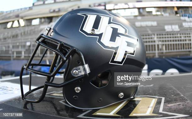 Knights helmet rests prior to the start of the game between the UConn Huskies and the UCF Knights on August 30 2018 at Rentschler Field in East...