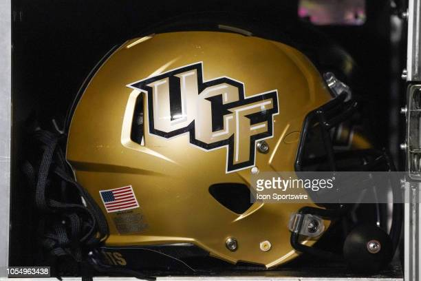 Knights helmet sits on the sideline during a game between the UCF Knights and the East Carolina Pirates at DowdyFicklen Stadium in Greenville NC on...