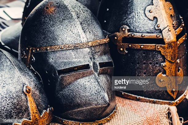 knight's helmets - medieval stock photos and pictures
