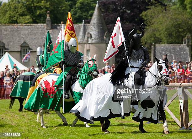 Knights in a Jousting re-enactment at Castle Fraser, Scotland
