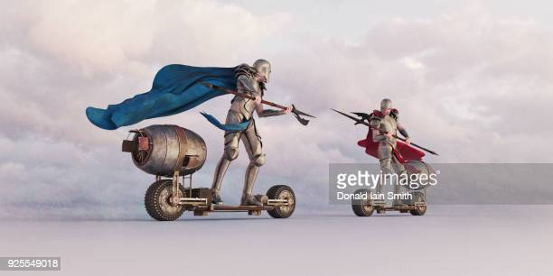 Knights jousting on futuristic skateboards