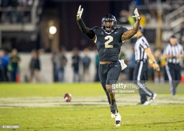 Knights linebacker Chequan Burkett celebrates his fumble recovery during the football game between the UCF Knights and USF Bulls on November 24 2017...