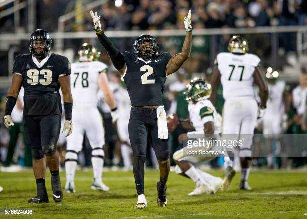 Knights linebacker Chequan Burkett celebrates his sack during the football game between the UCF Knights and USF Bulls on November 24 2017 at Bright...