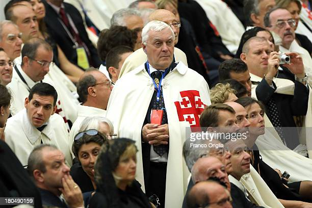 Knights of Holy Sepulchre from all over the world attend an audience with Pope Francis at the Paul VI Hall on September 13 2013 in Vatican City...