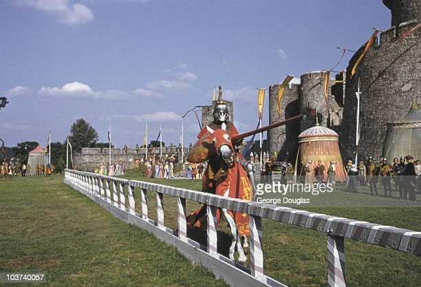 Knights pictured jousting during the filming of 'The Knights of the Round Table' Great Britain 1953 Original Publication Picture Post Knights of the...