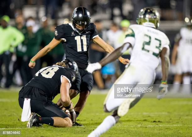 Knights place kicker Matthew Wright kicks the extra point during the football game between the UCF Knights and USF Bulls on November 24 2017 at...