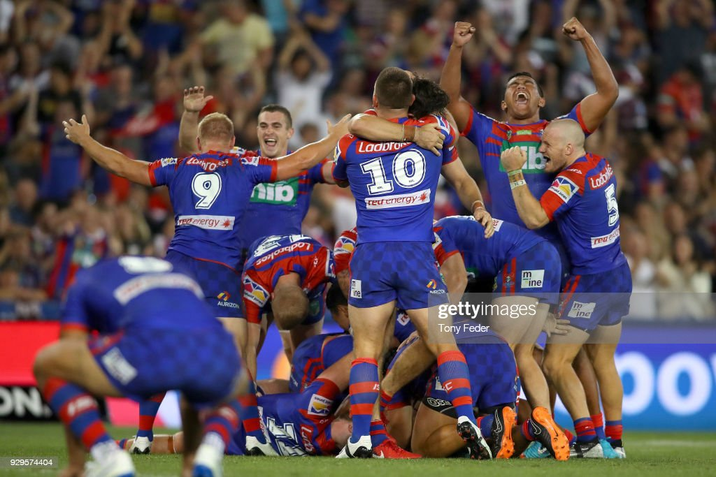Knights players celebrate the win over the Sea Eagles during the round one NRL match between the Newcastle Knights and the Manly Sea Eagles at McDonald Jones Stadium on March 9, 2018 in Newcastle, Australia.