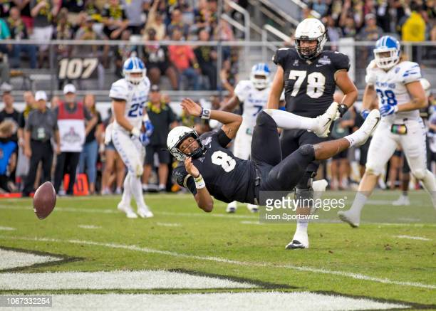 Knights quarterback Darriel Mack Jr fumbles as he crosses the endzone during the AAC Championship football game between the UCF Knights and the...