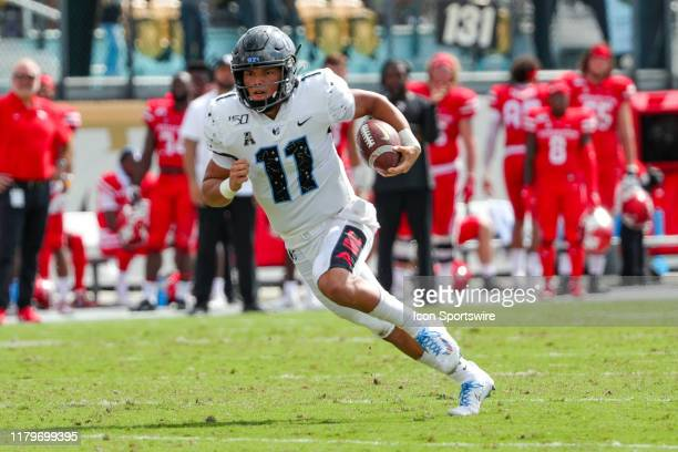 Knights quarterback Dillon Gabriel runs the ball during the football game between the Houston Cougars and UCF Knights on November 2 at Spectrum...