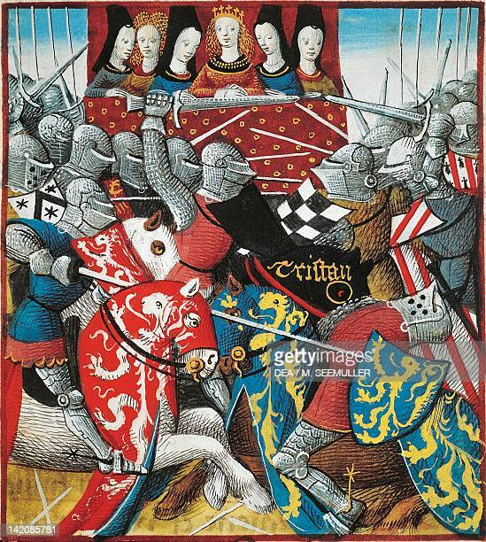 Knights tournament miniature from Romance of Tristan France 15th Century